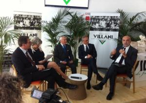 Un momento della conferenza stampa alla Palazzina Vigarani. Da sinistra Muzzarelli, Caselli, Villani, Marconi, Torregiani. (1)